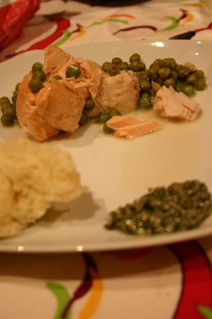 Cocotte de poisson aux petits pois et salsa verte